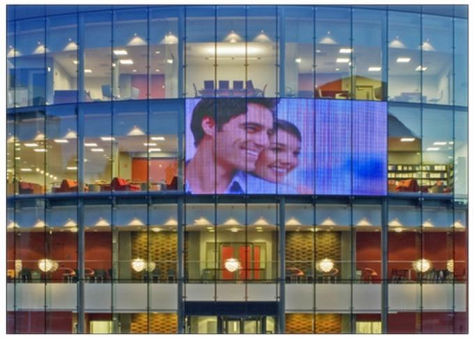 Video Glass Wall P16 High Transparent LED Display , Outdoor Transparent Glass LED Display