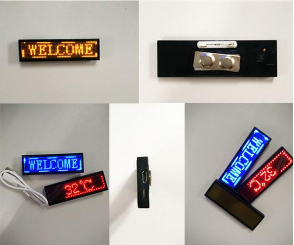 Rechargeable USB Flashing Electronic LED Name Badge Sign Programmable Scrolling Digital