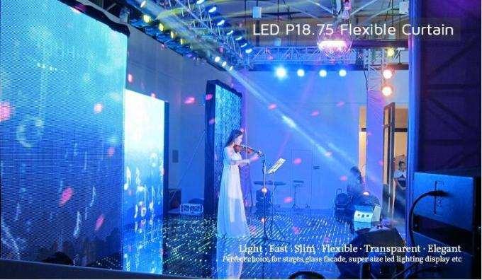 P18.75 SMD RGB Flexible LED Curtain Screen Full Color for Stage Activities Slim Collapsible