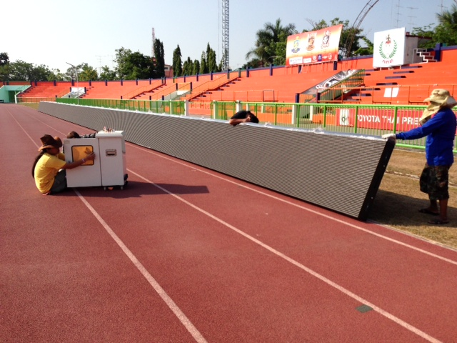 960mm Perimeter Advertising Boards Soft Mask Design Anti Rust Unique Angle Adjustable