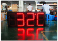 Double Sides Blue Gas Station LED Signs IR 10M RF 100M With Poos , LED Temperature Display
